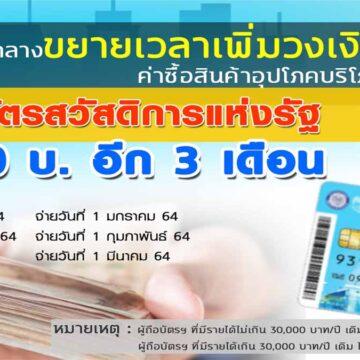 ผู้ถือบัตรสวัสดิการแห่งรัฐ เฮ!! กรมบัญชีกลางเพิ่มวงเงิน 500 บาท ต่อเนื่อง 3 เดือน