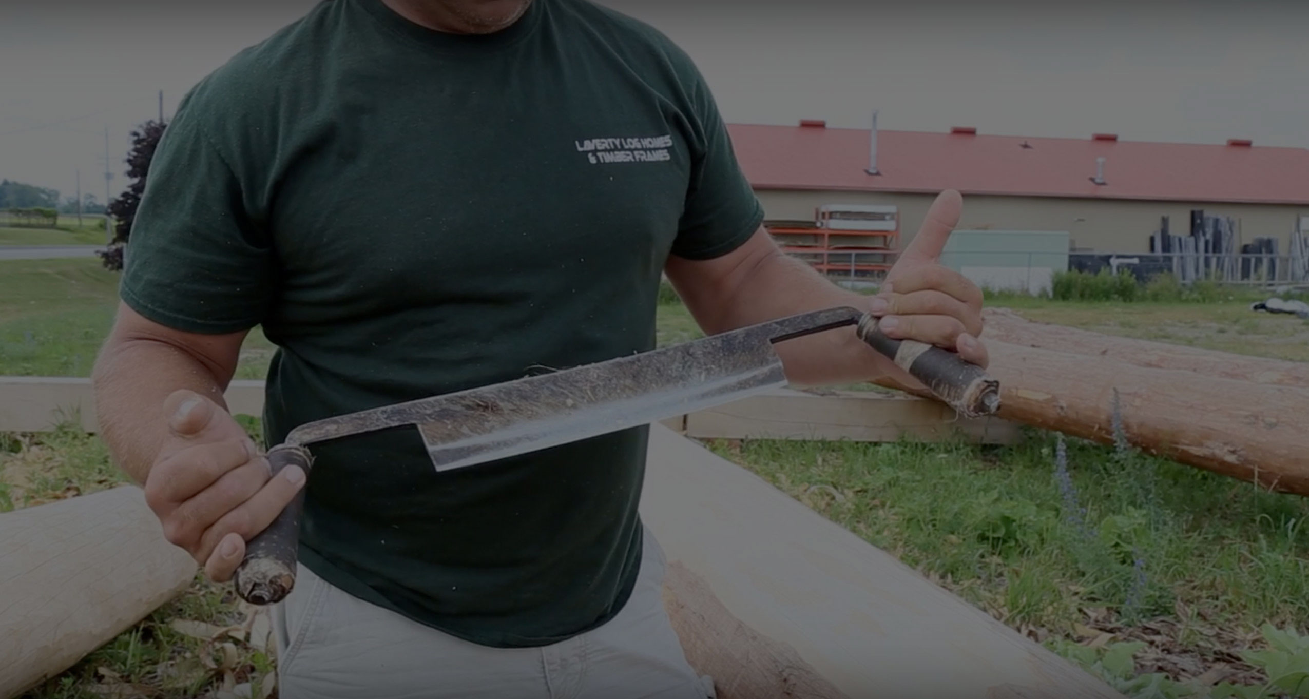How To Build A Log Home: Log Peeling With A Drawknife