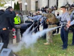 Graham North Carolina Police spray peaceful marchers
