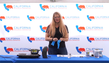 CRC's Amanda Callahan conducts experiment for Science Sundays in Kern County.