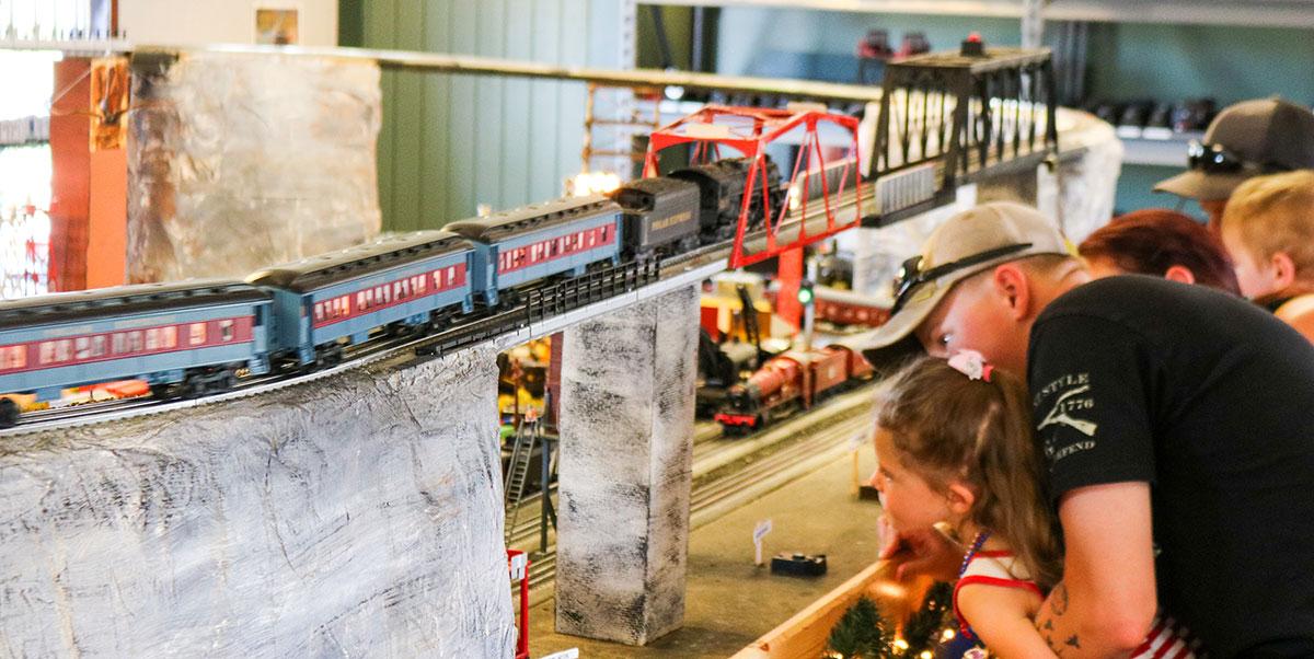 family fun watching the model railroad