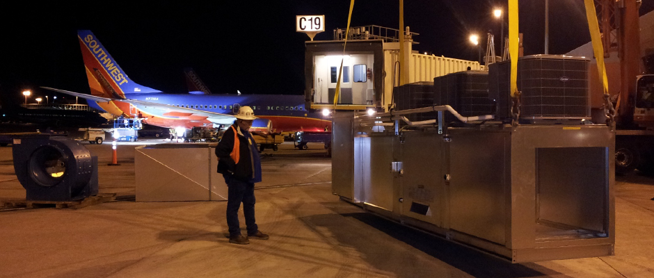 Custom 3-stage 15-ton commercial A/C unit for Pei-Wei at the C Gates at McCarran International Airport.