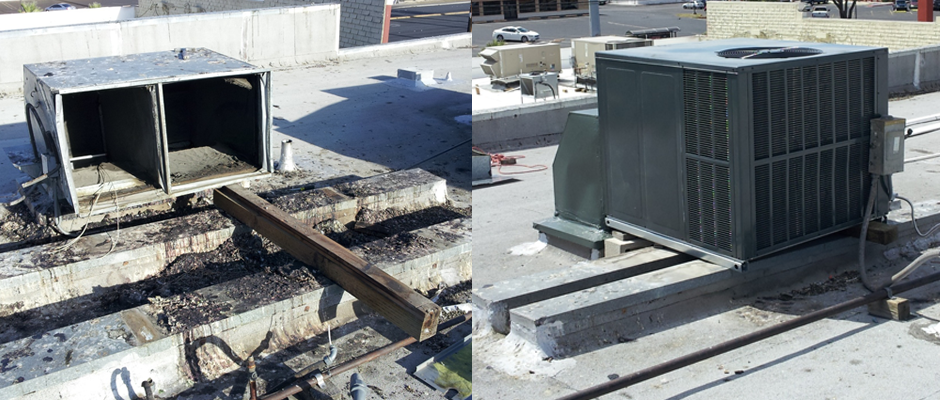 Before & After - A Vandalized Rooftop A/C Unit with a Pigeon Infestation and the New Unit That Replaced It.