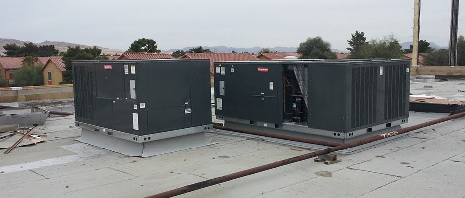 Two Commercial Rooftop Package Air Conditioning Units newly installed.