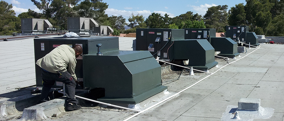 Finishing the install of the last of 4 new Commercial rooftop package units.