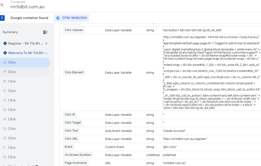 Generic Click Trigger In Preview mode in Google Tag Manager