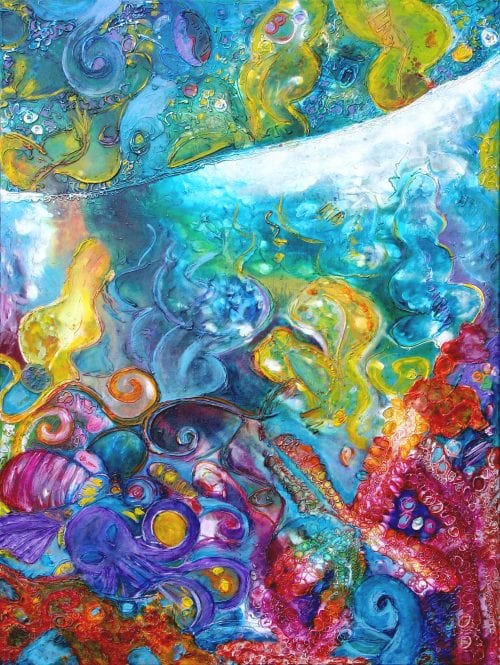 Jess King, Abstract acrylic and ink reef painting, Manly Harbour Gallery, Brisbane Art Gallery