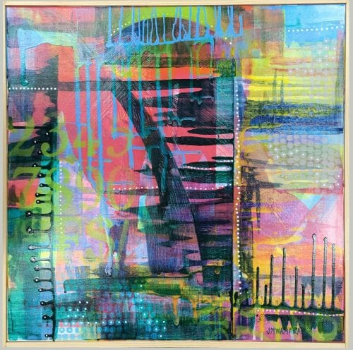 Jenny McNamara Furlong, Abstract city painting, Manly Harbour Gallery, Brisbane Art Gallery