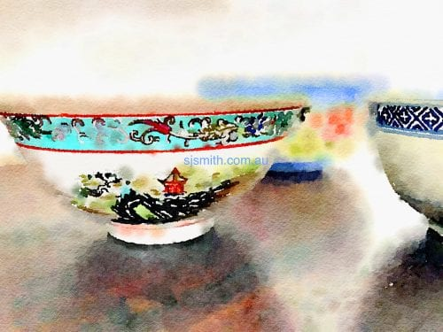 Chiese Bowls print by Sarah Jane Smith
