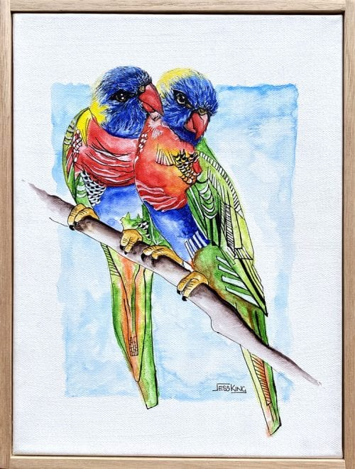 Lorikeet Love painting by Jess King for sale online at Manly Harbour Gallery