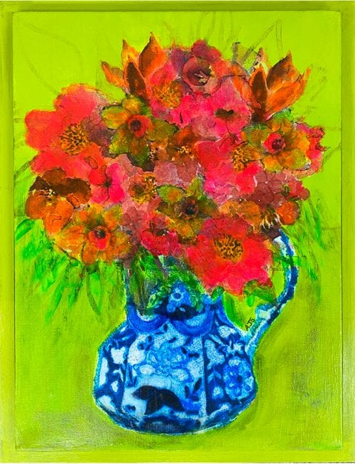 Incendiary Flowers by Amanda Slater 35 x 45 mixed media framed in painted box frame $385