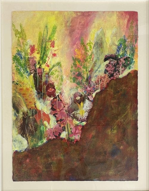 Wild Orchid by Kate Bray – 90x60cm Collage, Print, Acrylic on Arches watercolour paper White Frame $550.00