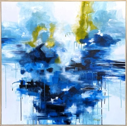 Abstract painting by Jess King, A River Runs Through for sale