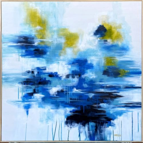 Abstract painting by Jess King, Misty River