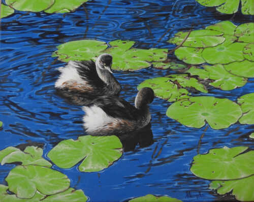 Water babies painting by Sandra Temple