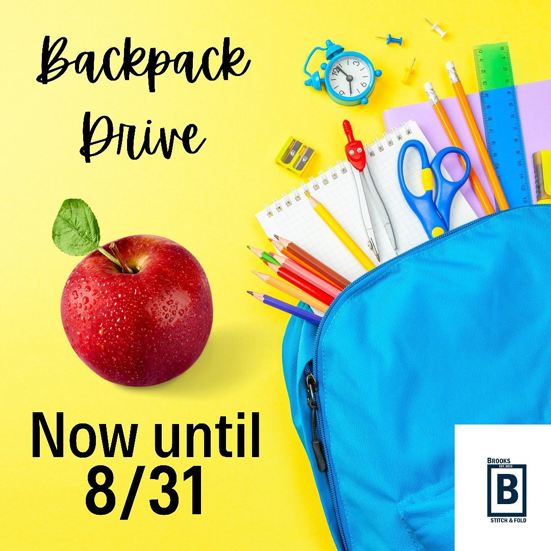 Brooks Stitch & Fold - Back to School Drive August 2021