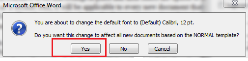 How to change the default font on MS Word 2010