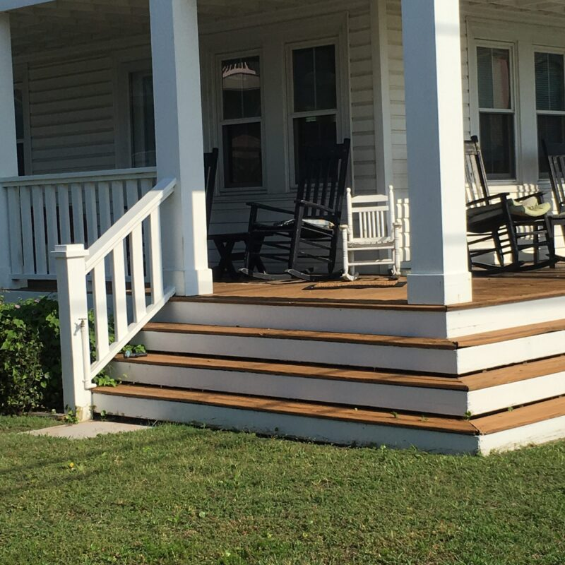 front porch and steps that someone living with dementia could wander away from