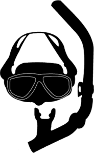Mask and Snorkel cartoon logo