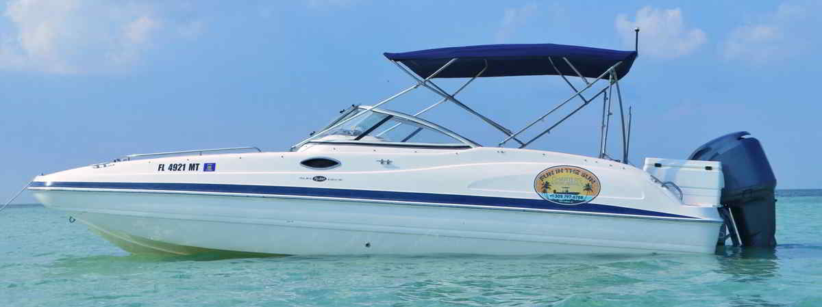 24 foot Hurricane Deck Boat powered by a 225 horse power Yamaha four stroke.