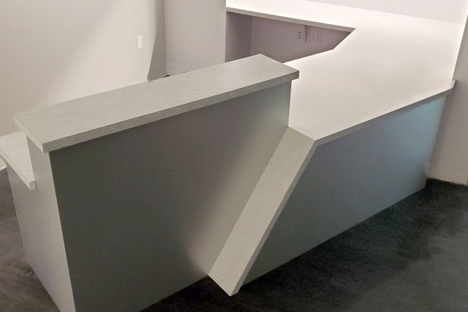 Custom Reception Desk with angled Countertop