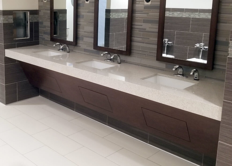 Restroom Sink Skirts with Plastic Laminate panels and under sink access panels