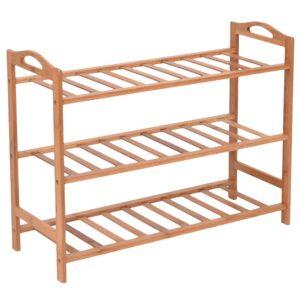 HOKIPO® 3 Tier Bamboo Shoe Racks Slipper Stand Chappal Storage Organizer Utility Racks, 53 x 65 x 26 cm