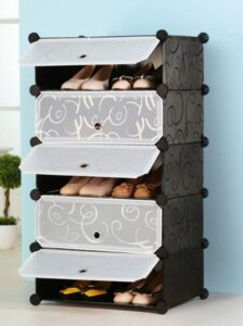 Multi Use DIY Plastic 5 Cube Shoe Rack Organizer, Shoes Cabinet Black with White Door - Large Size