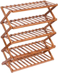 Livzing 5-Tier Collapsible Multipurpose Folding Bamboo Wooden Shoe Rack Household Holder Storage Shelf Installation-Free Organizer