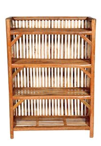 Cane Arts Bamboo Cane (Bait) Strong Shoe Rack Wooden Slipper Stand Utility Rack Planter Stand Bookshelf Space Saving Shelf for Home Kitchen