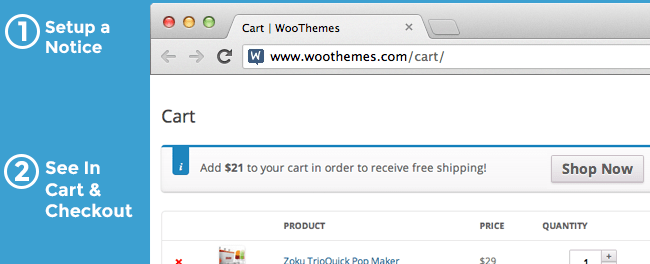 WooCommerce Cart Notices Screen