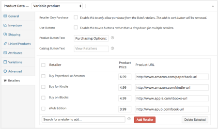 WooCommerce Product Retailers configuration