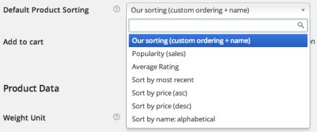 WooCommerce Default Sorting Options