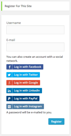 WP Register Buttons