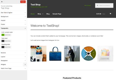 Storefront customizer setup
