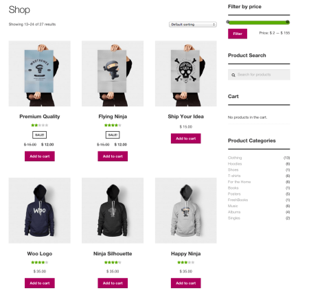 Storefront shop page