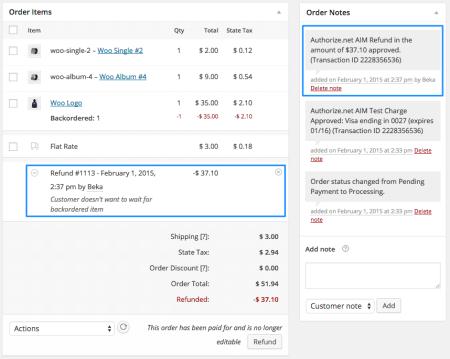 WooCommerce Authorize.net AIM partial refund