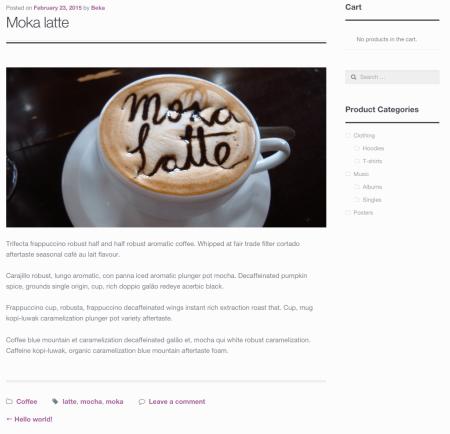 WooCommerce Storefront theme modified blog