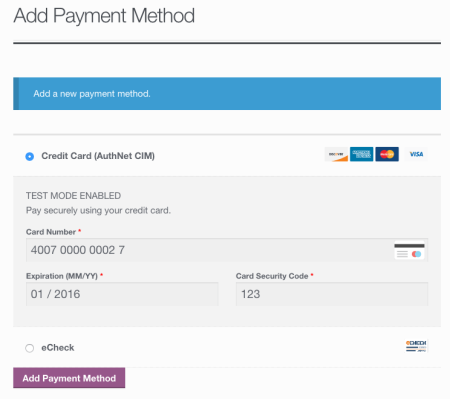 WooCommerce Authorize.net CIM add payment