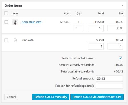 WooCommerce Authorize.net CIM refunds