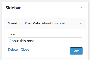Storefront post meta widget