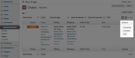 WooCommerce 1.2 Order Actions