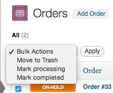 WooCommerce 1.6 order bulk actions