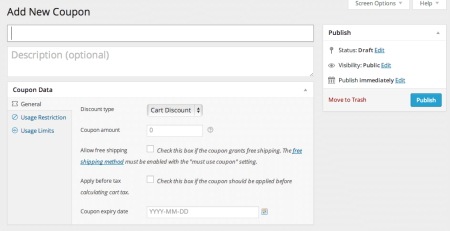 WooCommerce 2.1 Add coupon