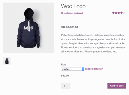 WooCommerce purchasable variation