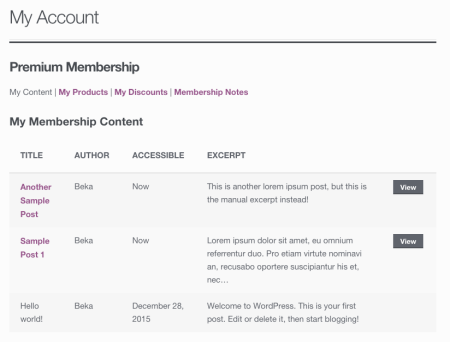 WooCommerce Memberships My Content No Type