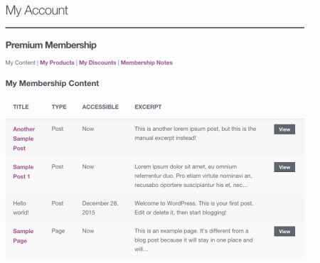 WooCommerce Memberships My Content