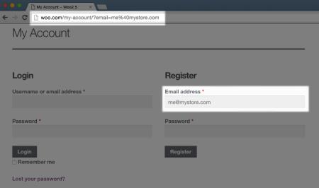 WooCommerce registration prompt -- pre-filled registration email