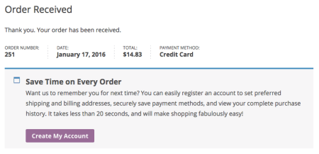 WooCommerce thank you page registration prompt