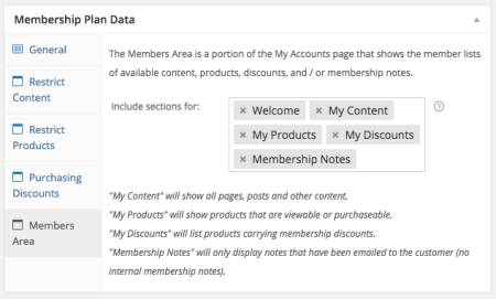 WooCommerce Memberships new member area section